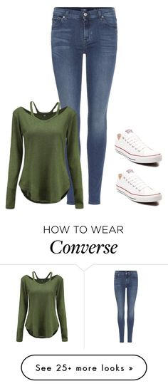 """Untitled #373"" by lullabycake on Polyvore featuring 7 For All Mankind and Converse"