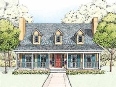 Country House Plan with 1719 Square Feet and 3 Bedrooms(s) from Dream Home Source | House Plan Code DHSW55184