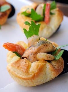 Cestini di sfoglia ripieni antipasto di mare vickyart arte in cucina