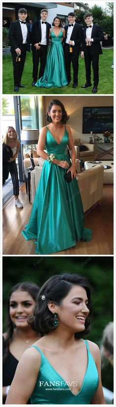 Jade Prom Dresses Long, 2019 Formal Evening Dresses with Pockets, A-line Military Ball Dresses V-neck, Elegant Pageant Graduation Party Dresses Satin Discount Prom Dresses, Evening Dresses Online, A Line Prom Dresses, Cheap Prom Dresses, Pageant Dresses, Gowns Online, Party Dresses, Gala Dresses, Prom Gowns