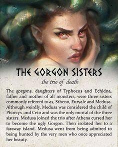 The gorgon sisters Greece Mythology, Greek And Roman Mythology, Greek Gods And Goddesses, Medusa Greek Mythology, Greek Mythology Tattoos, Mythological Creatures, Mythical Creatures, Mythological Monsters, Medusa Art