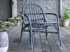 #fauteuil #rotin #bleu #gris #extérieur