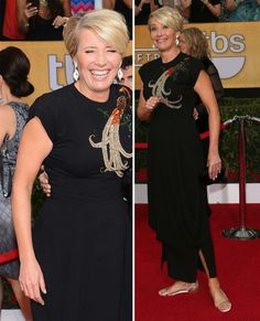THE VISIBLE WOMAN - BRILLIANT! Emma Thompson black dress flat sandals 2014 SAG Awards