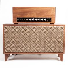 "Mitz Takahashi Guitar Amp    1959 Fender Bassman clone circuit with two 12"" speakers  50 watts    Made from all reclaimed/recycled wood"