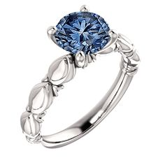 White gold 14K round blue diamond 4.01 carat solitaire ring sparkling