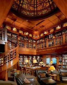 """""""I was involved in carpentry when I was young, so the ranch really came out of that background,"""" says filmaker George Lucas. Above: The library. """"I moved around in the era of 1850 to 1910,"""" Lucas says. For the Lucasfilm Research Library, he asked artisan Eric Christensen to create stained glass """"reminiscent of the work of Greene and Greene."""" The fully staffed library accomodates 27,000 titles. (March 2004)"""