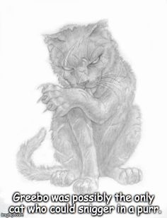 By Paul Kidby, an illustration of Greebo from Terry Pratchett's Diskworld series. Terry Pratchett Death, Terry Pratchett Discworld, Discworld Characters, Wyrd Sisters, Oh The Humanity, Dark Artwork, My Fantasy World, Calvin And Hobbes, Warrior Cats