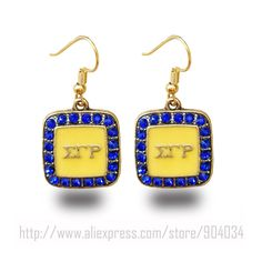 SGR Sigma Gamma Rho Sorority yellow with blue earring JewelryDeep discounts on over 300 products that enhance your life from day to day! Items for men and women of all ages, also teenagers. Take a look at our #jewelry #handbags #outerwear #electronicaccessories #watches #umbrellas #gpspettracker  #Songbirddeals #Purses #sunglasses