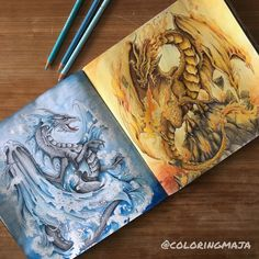 My silver and gold dragons are complete  I'm so pleased with how they turned out as a pair  I used Holbeins for the dragons, prismas for…