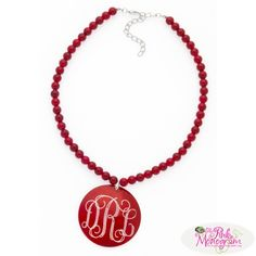 Red Engraved Shell Necklace