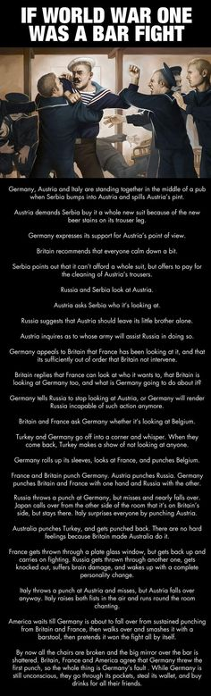 Funny pictures about If WWI was a bar fight…. Oh, and cool pics about If WWI was a bar fight…. Also, If WWI was a bar fight… photos. History Memes, History Facts, World History, Funny History, Drunk History, History Essay, Texas History, History Teachers, Teaching History