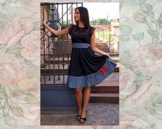 Knielange Kleider - S M L XL DIVA Kleid Rockabilly Pinup Retro Vintage - ein Designerstück von Black-Cherrys-Store bei DaWanda