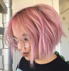 Chin-Length Choppy Pastel Pink Bob