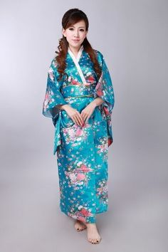 Japanese National Women Lake blue Kimono satin Yukata With Obi Traditional Evening Dress Novelty Halloween Costume One size Satin Kimono, Traditioneller Kimono, Blue Kimono, Silk Satin, Dress Flower, Traditional Japanese Kimono, Island Outfit, Japanese Costume, Judo