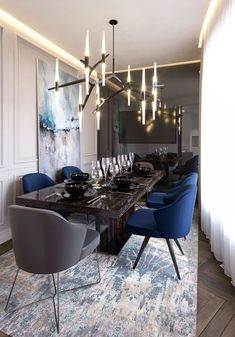 Get inspired by these dining room decor ideas! From dining room furniture ideas, dining room lighting inspirations and the best dining room decor inspirations, you'll find everything here! Luxury Dining Room, Dining Room Sets, Dining Room Design, Dining Tables, Dining Suites, Dining Room Decor Elegant, Modern Dining Room Lighting, Blue Dining Room Chairs, Kitchen Tables