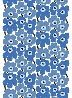 Pieni Unikko 2 cotton fabric by Marimekko I think this will be the new dining room seats. Marimekko Wallpaper, Marimekko Fabric, Textile Design, Fabric Design, Blue Fabric, Cotton Fabric, Design Your Own Dress, Scandinavia Design, Arte Pop