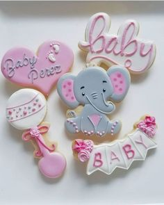 Dumbo Baby Shower, Elephant Baby Shower Cake, Baby Shower Fun, Baby Elephant, Baby Girl Cookies, Baby Shower Cookies, Fancy Cookies, Cute Cookies, Sugar Cookies