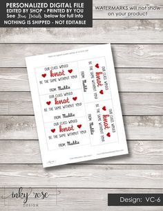 Knot Valentine Cards PRINTABLE Friendship Bracelet Valentine's Day Card for Kids Teacher Valentine Classroom School Non Candy Free for Girls Diy Valentines Cards, Teacher Valentine, Valentines For Boys, Valentine Ideas, All You Need Is, Printable Cards, Free Printables, Teacher Cards, Rose Shop