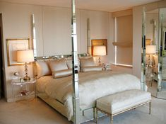 Glamour Friday: Creating a Glamorous Bedroom Retreat with mirrored furniture Mirrored Bedroom Furniture, Master Bedroom Interior, Modern Bedroom Design, Home Interior, Interior Design, Master Bedrooms, Taupe Bedroom, Bedroom Designs, Master Suite