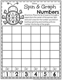 Spin and Graph Number Worksheet for Kindergarten & Preschool Back To School Worksheets, Kids Math Worksheets, Number Worksheets, Kindergarten Math Activities, Preschool Math, Math About Me, Writing Numbers, Writing Practice, Spin