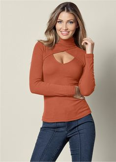 Order a sexy Burnt Orange Cut Out Mock Neck Top from VENUS. Shop short sleeve tops, tanks, tees, blouses and more at an affordable price today! Cute Fashion, Fashion Outfits, Womens Fashion, Classy Outfits, Casual Outfits, Venus Clothing, Moda Chic, Cute Tops, Women's Tops