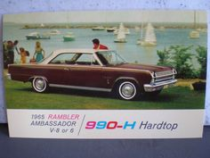 Vintage Mid Century Unused Car Advertisement Postcard - 1965 Rambler Ambassador V8 or 6 990-H Hardtop by 20thCenturyCool on Etsy