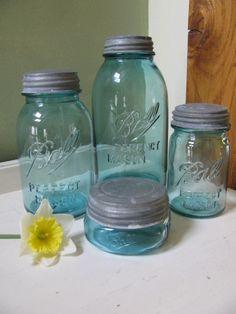 Vintage Blue Ball Perfect Mason Half Gallon - Quart - Pint - Half Pint Jars -Ball Zinc Lids for canning or wedding decor. $48.00, via Etsy.