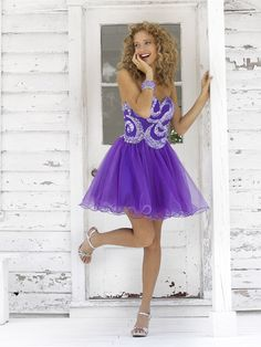 Vintage A-line Sweetheart Short / Mini Organza Beading Purple Homecoming Dresses