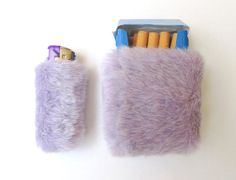 Pastel goth furry smoking set of cigarette case and matching bic lighter cover, handmade by me.