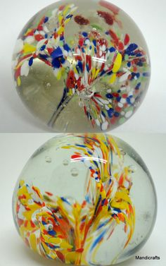 Art Glass #Paperweight x 2 Ball 2in Fireworks Sprays Bubbles Modern Unsigned Unbranded