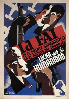Les-Barquet. FAI Fight for Humanity. 1937 (Spanish Civil War poster)
