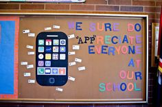 Technology Themed Teacher Appreciation Bulletin Board Idea