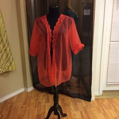 early 1970's Short Red Negligee 214017 by LisaLaRueRetroActive, $11.95