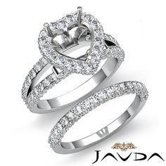 Pave Diamond Engagement Ring Heart Bridal Setting Platinum 950 Semi Mount 2 75ct | eBay