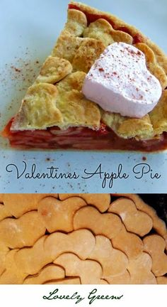 Apple pie recipe with a cute heart-shaped scalloped crust and fruit naturally coloured red with cherry juice. Pretty and naturally delicious! #pie