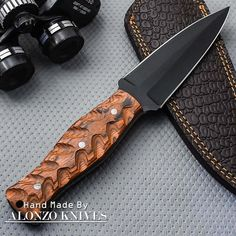 ALONZO KNIVES USA CUSTOM HANDMADE COMBAT DAGGER 1095 KNIFE PAKKA WOOD 1597 #AlonzoKnives