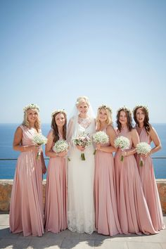 Blush pink twobirds Bridesmaid dresses | A real wedding featuring our multiway, convertible wrap dresses | Image by Gypsy Westwood Photography | Halfpenny London Lace and Shades of Blush Pink for a Wedding in Ibiza | Love My Dress® UK Wedding Blog