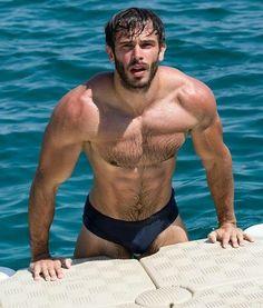 Hairy Men, Bearded Men, Hot Guys, Hot Men, Guys In Speedos, Ricky Martin, Men Beach, Hairy Chest, Muscular Men