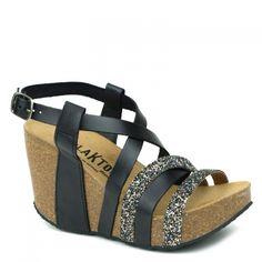 0746fcc10589 LIGNE I - Chaussures Plakton · Sandales Plakton I Song en cuir noir et  Glitter noir