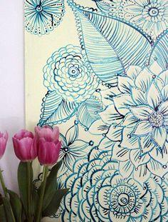 """Alisa Burke's """"doodle"""" art - imagining something like this in my bedroom."""