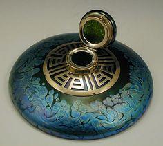 Loetz Art Nouveau Irridescent Inkwell Bakalowits.