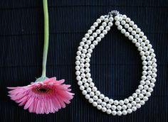 3 strand swarovski pearl necklace (Jackie O inspired) Swarovski Pearls, Handmade Jewellery, Pearl Necklace, Glitter, Inspired, Inspiration, Jewelry, String Of Pearls, Biblical Inspiration