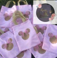 Minnie mouse bolsas de chuchería de oro y rosa