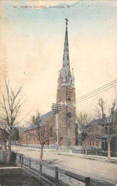 St-Marys-Church-Dubuque-Iowa-Hand-Colored-Vintage-Postcard-1909