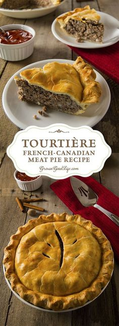a traditional French-Canadian pie served by generations of French-Canadian families throughout Canada and New England. It is made from a combination of ground meat, onions, spices, and herbs baked in a traditional piecrust. French Canadian Meat Pie Recipe, French Meat Pie, Canadian Food, French Pork Pie Recipe, Italian Meat Pie Recipe, Canadian Dishes, Canadian French, Native Canadian, Canadian Recipes