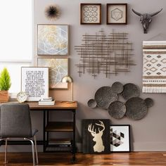 The Black & Gold Wall Décor Collection is a gathering of wall art from canvases and sculptures to fabric hangings. This grouping has harmonious colors and styles that look great together and give you an instant sense of style when hung on a wall.