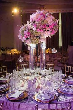 A Glamorous Montreal Wedding - WedLuxe Magazine Party Decoration, Reception Decorations, Event Decor, Wedding Centerpieces, Wedding Table, Tall Centerpiece, Purple Wedding, Floral Wedding, Wedding Colors