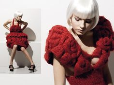 """Constructed fashion is designerese for """"Weighing forty pounds and so stiff and heavy that it will not bend enough to sit down properly and you walk like you're on a ship at sea during a hurricane! 3d Fashion, Knitwear Fashion, Knit Fashion, Fashion Outfits, Fashion Design, Crochet Designs, Knitting Designs, Red Knit Dress, Structured Fashion"""