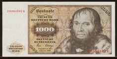 German banknotes1000 DM Deutsche Mark banknote,issued by the Deutsche Bundesbank (German Federal Bank) -2.1.1980.