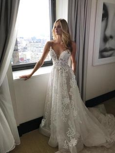 Gorgeous Straps,A-line White Long Wedding Dress with Train,V-neck,Spaghetti Straps Bridal Dress,132